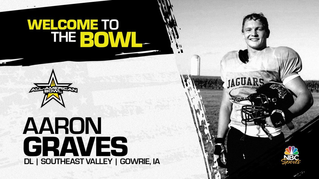 Aaron Graves (Gowrie, IA/ Southeast Valley High School), four-star defensive lineman has officially committed to the 2022 All-American Bowl.