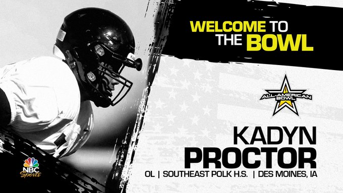 Kadyn Proctor (Des Moines, IA/ Southeast Polk High School), four-star offensive lineman, has officially committed to the 2023 All-American Bowl.