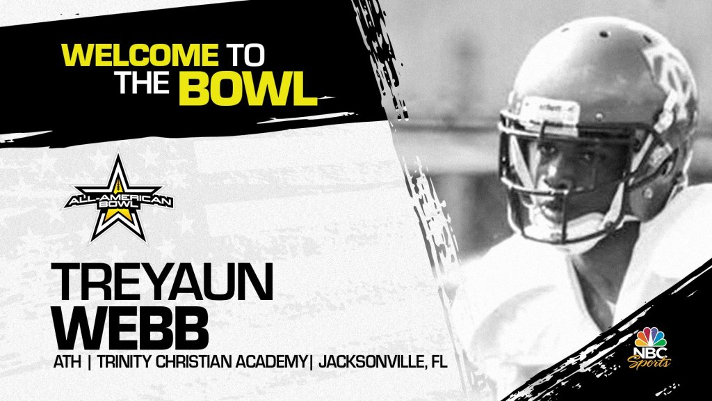 Treyaun Webb (Jacksonville, FL/ Trinity Christian Academy), four-star athlete, has officially committed to the 2023 All-American Bowl.