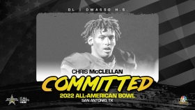 Chris McClellan (Owasoo, OK/ Owasso High School), the rising junior prospect has officially committed to the 2022 All-American Bowl.