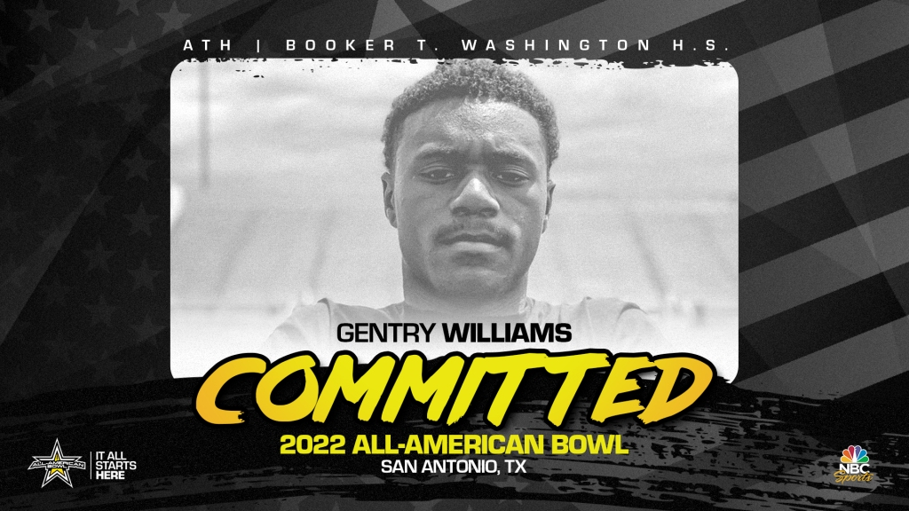 Gentry Williams (Tulsa, OX/ Booker T. Washington High School), the top prospect in Oklahoma has officially committed to the 2022 All-American Bowl.