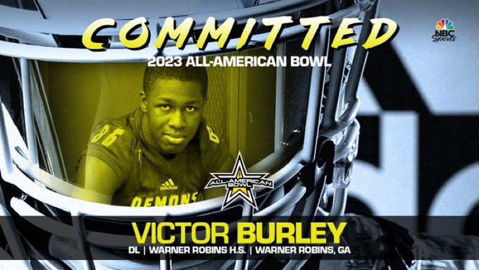 Victor Burley (Warner Robins, GA/ Warner Robins High School), four-star defensive lineman, has officially committed to the 2023 All-American Bowl.