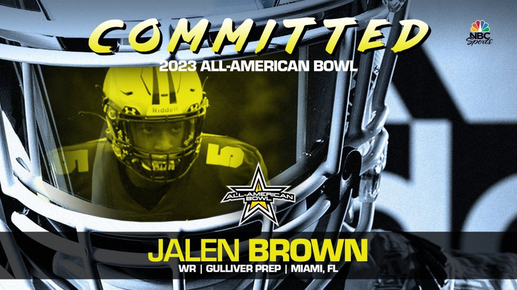 Jalen Brown (Miami, FL/ Gulliver Prep High School), four-star wide receiver, has officially committed to the 2023 All-American Bowl.