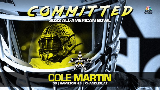 Cole Martin (Chandler, AZ/ Hamilton High School), four-star defensive back, has officially committed to the 2023 All-American Bowl.