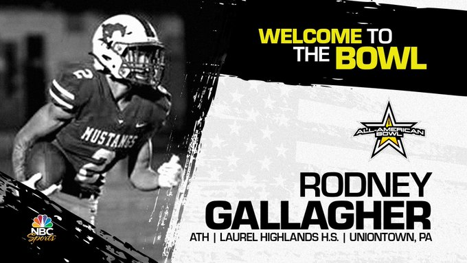 Rodney Gallagher (Uniontown, PA/ Laurel Highlands High School), four-star athlete, has officially committed to the 2023 All-American Bowl.