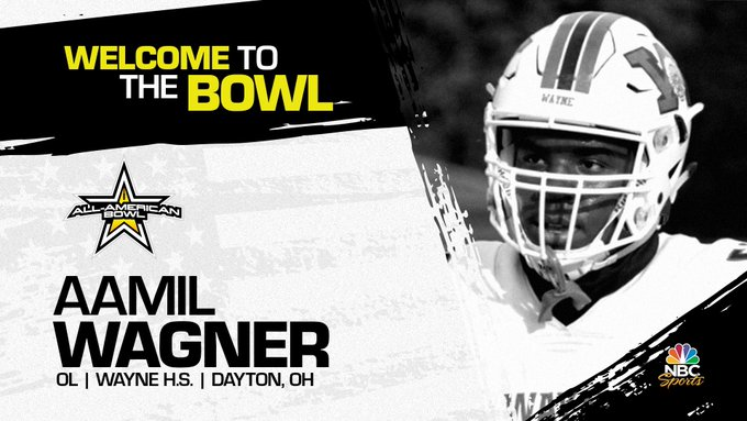 Offensive lineman Aamil Wagner (Dayton, OH/ Wayne High School), the four-star recruit has officially committed to the 2022 All-American Bowl.