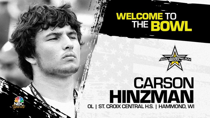 Carson Hinzman (Hammond, WI/ St. Croix Central High School), the four-star prospect has officially committed to the 2022 All-American Bowl.