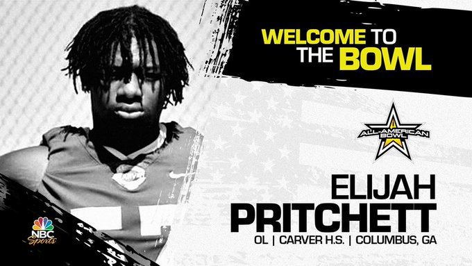 Offensive lineman Elijah Pritchett (Columbus, GA/ Carver High School), the four-star prospect has officially committed to the 2022 All-American Bowl.