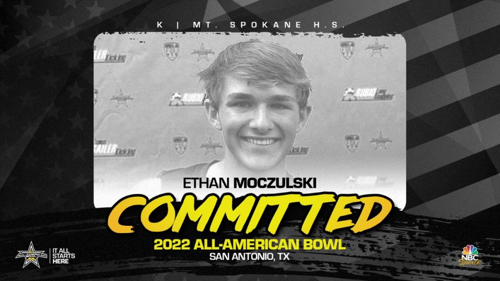 Kicker Ethan Moczulski (Mead, WA/ Mt. Spokane High School) has officially committed to the 2022 All-American Bowl.