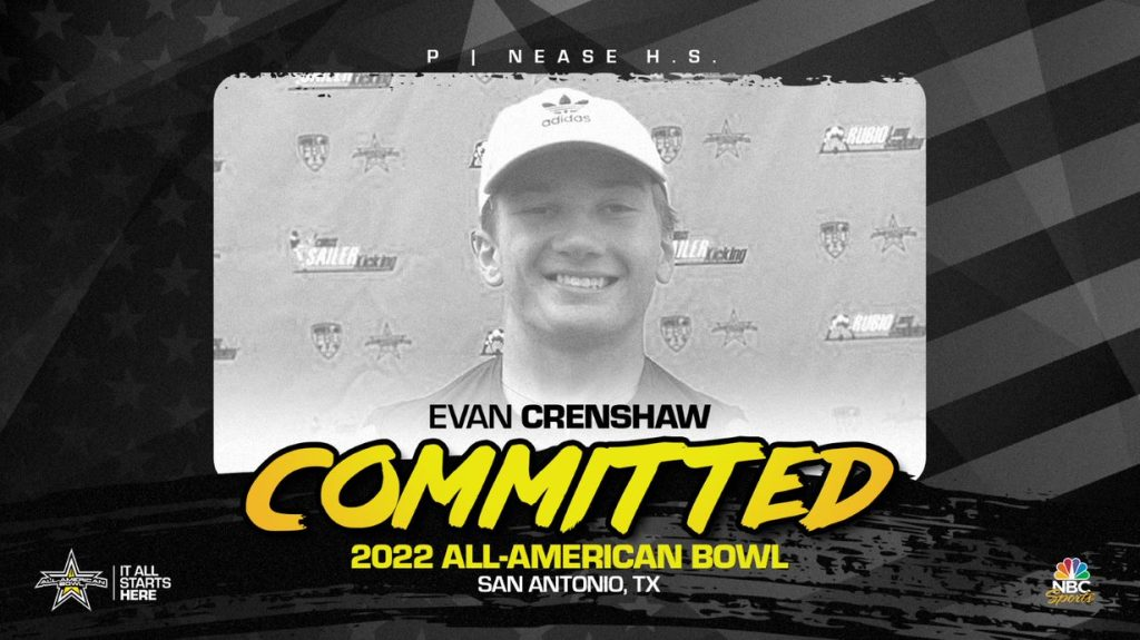 Punter Evan Crenshaw (Ponte Verdra, FL/ Nease High School) has officially committed to the 2022 All-American Bowl.