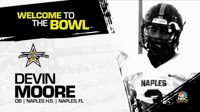 Defensive back Devin Moore (Naples, FL/ Naples High School), the four-star recruit has officially committed to the 2022 All-American Bowl.