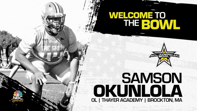Samson Okunlola (Brockton, MA/ Thayer Academy), four-star offensive lineman has officially committed to the 2023 All-American Bowl.