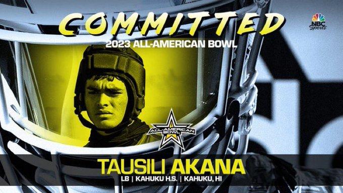 Tausili Akana (Kahuku, HI/ Kahuku High School), four-star linebacker has officially committed to the 2023 All-American Bowl.
