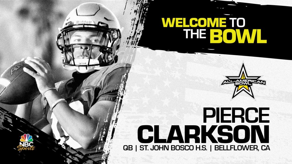 Pierce Clarkson (Bellflower, CA/ St. John Bosco High School), four-star quarterback, has officially committed to the 2023 All-American Bowl.