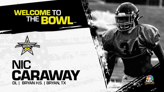 Defensive lineman Nic Caraway (Bryan, TX/ Bryan High School), the Purdue verbal commit has officially accepted his invitation to the 2022 All-American Bowl.