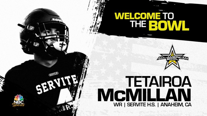Tetairoa McMillan (Anaheim, CA/ Servite High School), the four-star prospect has officially accepted his invitation to the 2022 All-American Bowl.