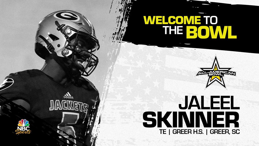 Tight end Jaleel Skinner (Greer, SC/ Greer High School), the four-star prospect has officially accepted his invitation to the 2022 All-American Bowl.