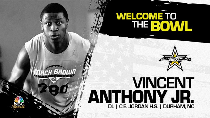 Vincent Anthony Jr. (Durham, NC/ C.E. Jordan High School), the three-star prospect has officially accepted his invitation to the 2022 All-American Bowl.