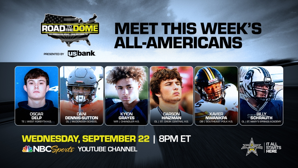 The 2022 All-American Bowl will continue theRoad to the Dometour on Wednesday, September 22 at 8 p.m. ET on the NBC Sports YouTube channel.
