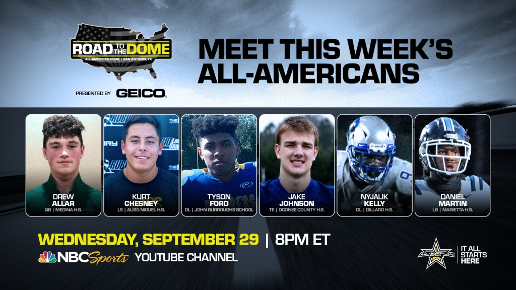 The 2022 All-American Bowl will continue theRoad to the Dometour on Wednesday, September 29 at 8 p.m. ET on the NBC Sports YouTube channel