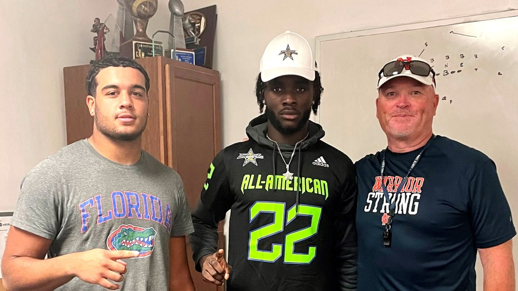 Wide receiver Sam M'bake, the four-star prospect, was officially honored today as a 2022 All-American during a virtual jersey presentation.