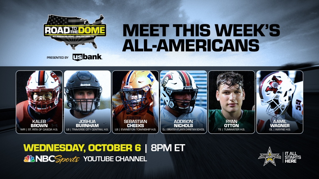 The 2022 All-American Bowl will continue theRoad to the Dometour on Wednesday, October 6 at 8 p.m. ET on the NBC Sports YouTube channel.