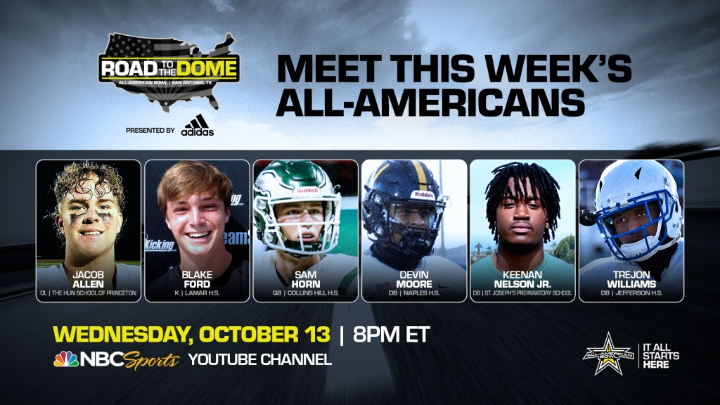 The 2022 All-American Bowl will continue the Road to the Dometour on Wednesday, October 13 at 8 p.m. ET on the NBC Sports YouTube channel.