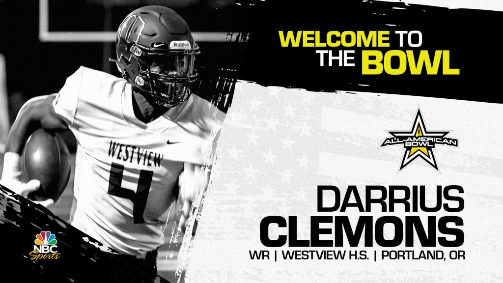 Wide receiver Darrius Clemons (Portland, OR/ Westview H.S.), the four-star prospect has officially accepted his invitation to the 2022 All-American Bowl.